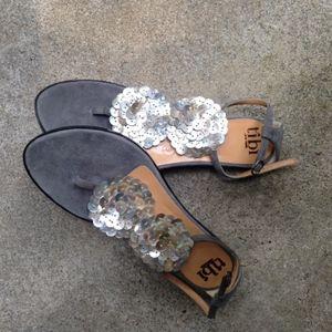 TIBI Suede Flat Sandals